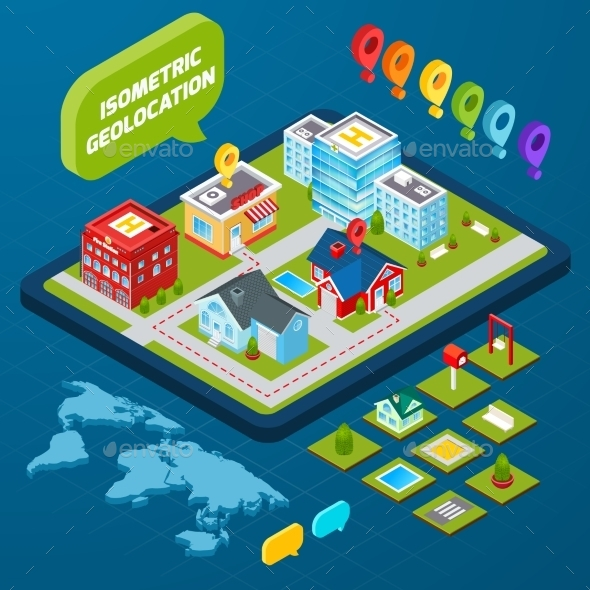 GraphicRiver Isometric Geolocation Concept 9815998