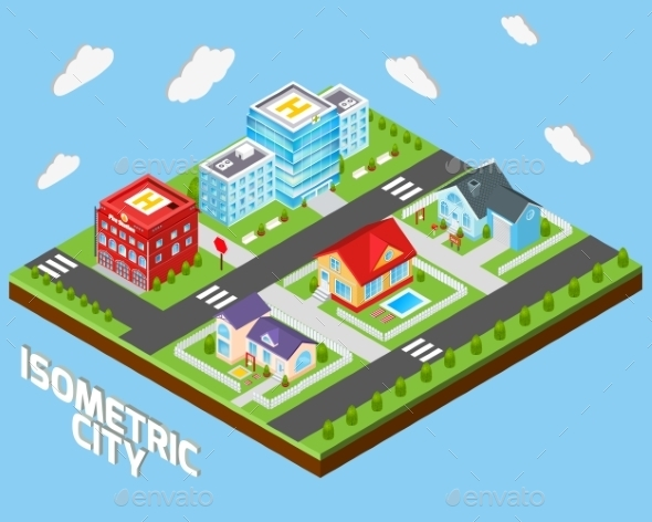GraphicRiver Isometric City Set 9816020