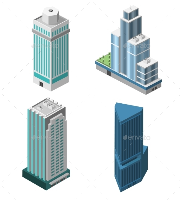 GraphicRiver Skyscrapers Offices Set 9816046
