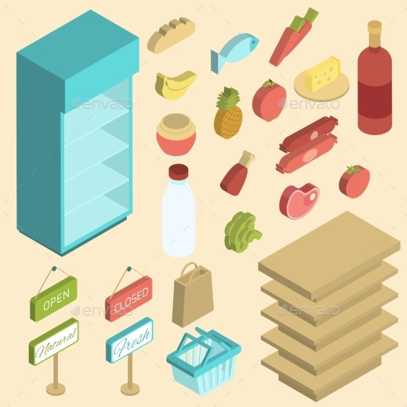 GraphicRiver Supermarket Icon Isometric 9816058