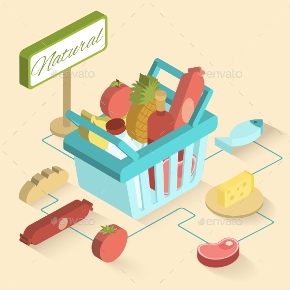 GraphicRiver Supermarket Basket Isometric 9816060