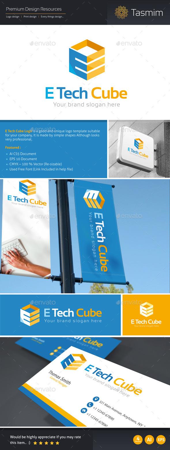 GraphicRiver E Tech Cube Logo Template 9816460