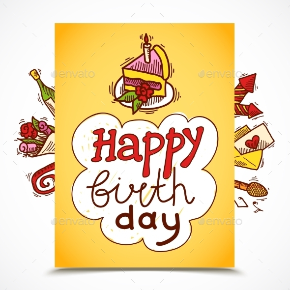 GraphicRiver Birthday Card Sketch 9816604