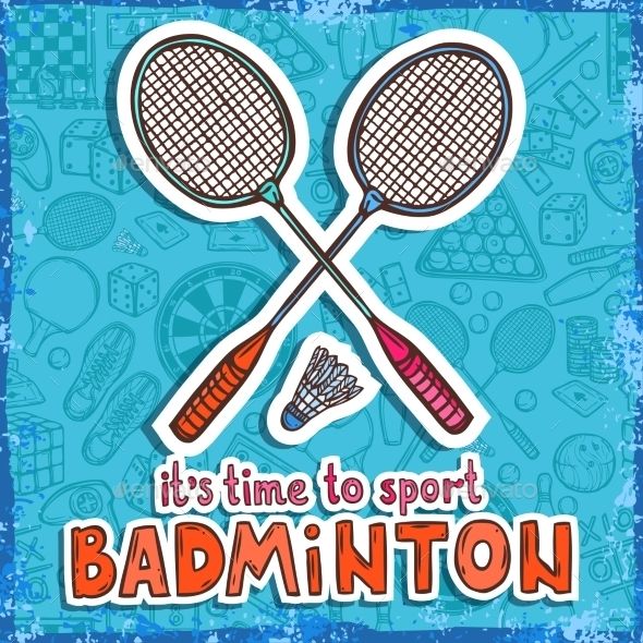 GraphicRiver Badminton Sketch Background 9816616