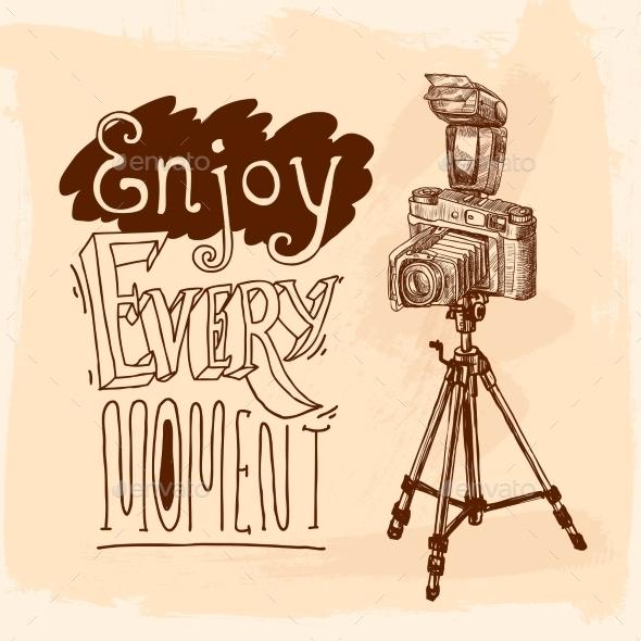 GraphicRiver Camera Tripod Sketch 9816636