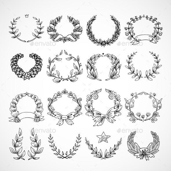 GraphicRiver Wreath Heraldic Icons Set 9816648