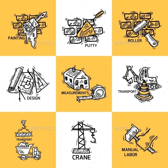 GraphicRiver Construction Icons Set 9816653