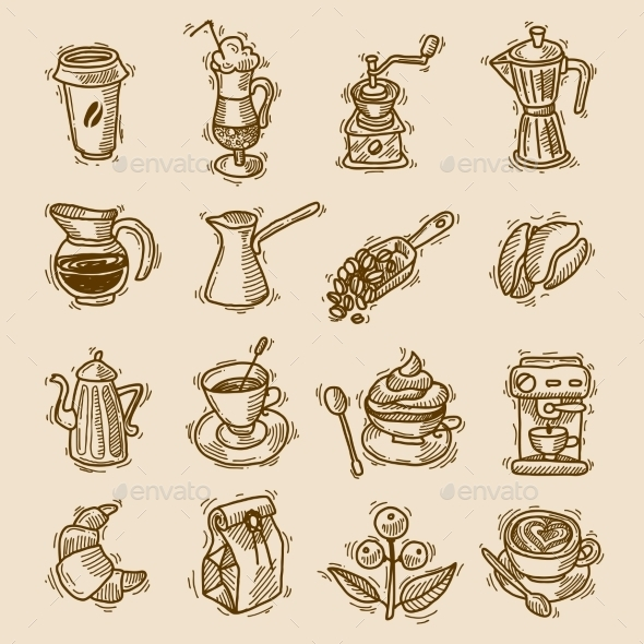 GraphicRiver Coffee Sketch Icons Set 9816655
