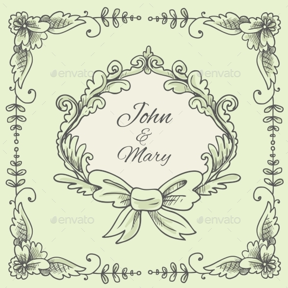 GraphicRiver Wedding Wreath Sketch 9816661