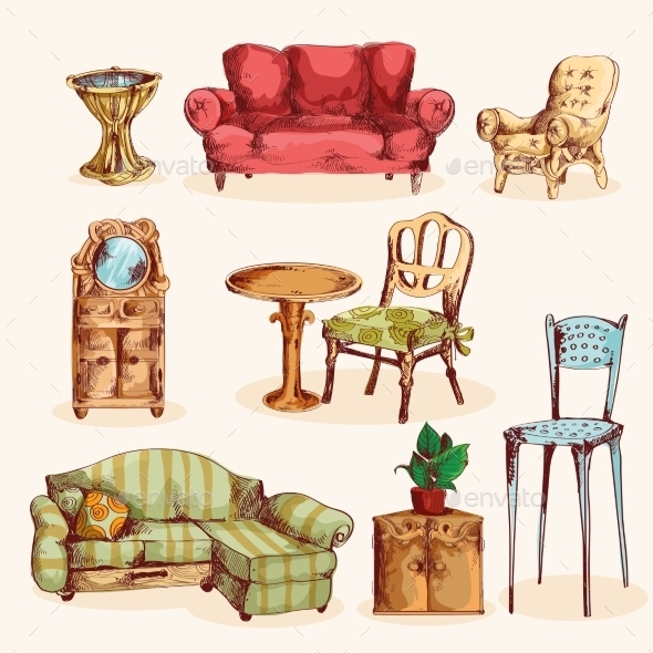 GraphicRiver Furniture Sketch Colored 9816678