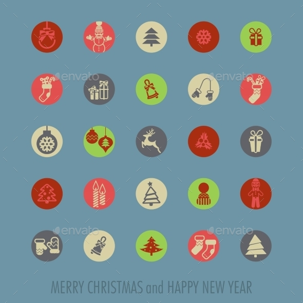 GraphicRiver Christmas Icons Set 9816764