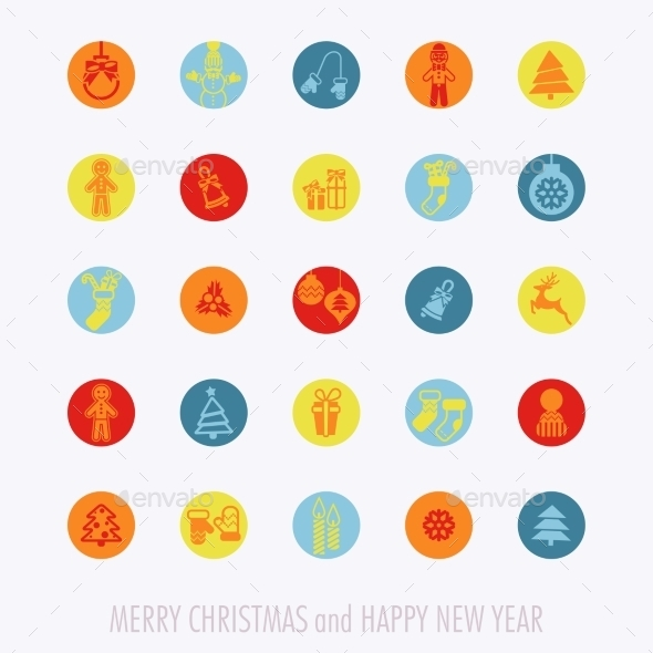 GraphicRiver Christmas Icons Set 9816768