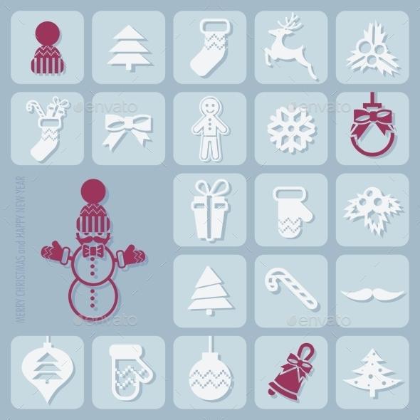 GraphicRiver Christmas Icons Set 9816835