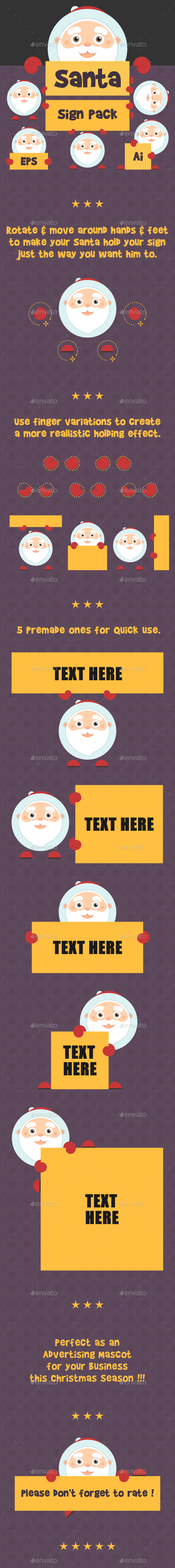 GraphicRiver Santa Holding Sign Pack 9816917