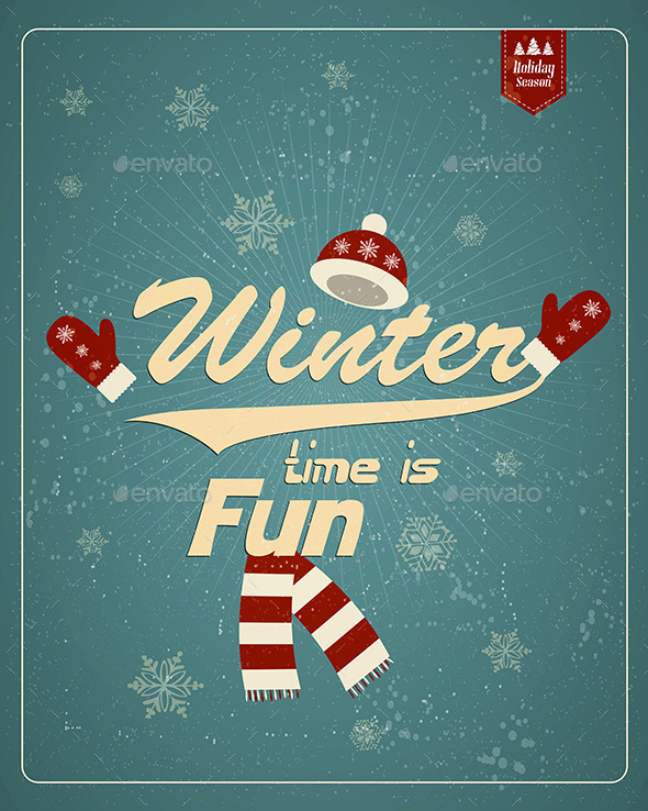 GraphicRiver Vintage Winter Background 9817283