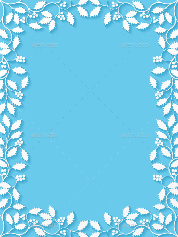 GraphicRiver Floral Frame with Holly 9817303