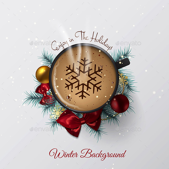GraphicRiver Winter Cozy Background with the Cup of Coffee 9817313