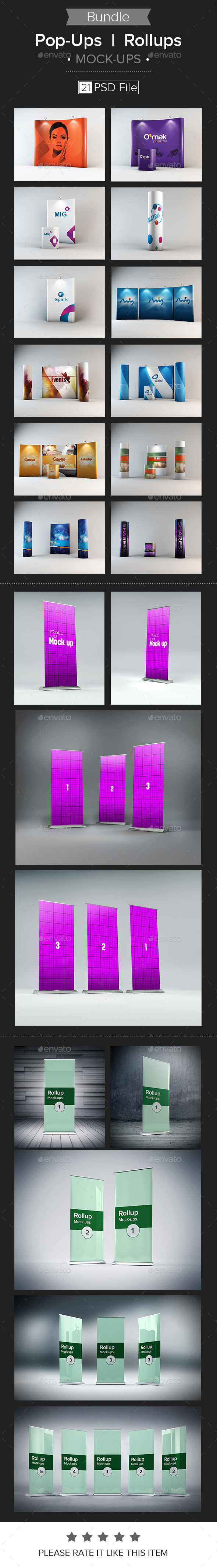 GraphicRiver Pop-Ups Rollups Mock-up Bundle 9817443