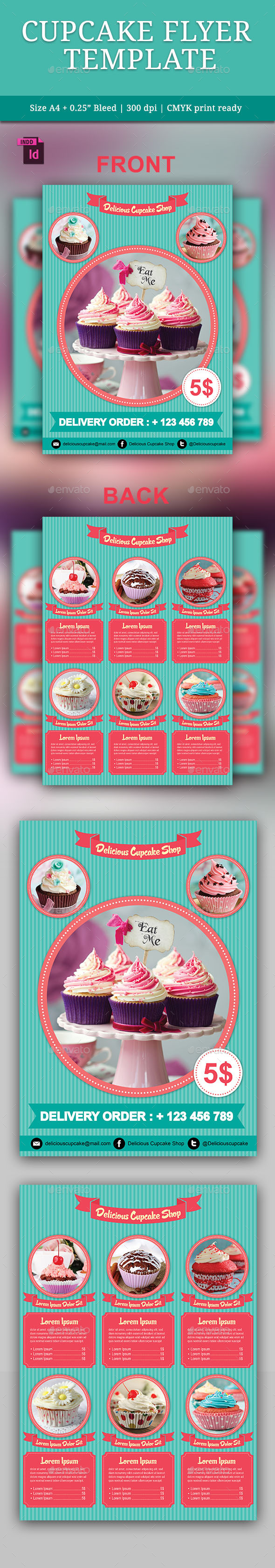 GraphicRiver Cupcake Flyer Template 9817528