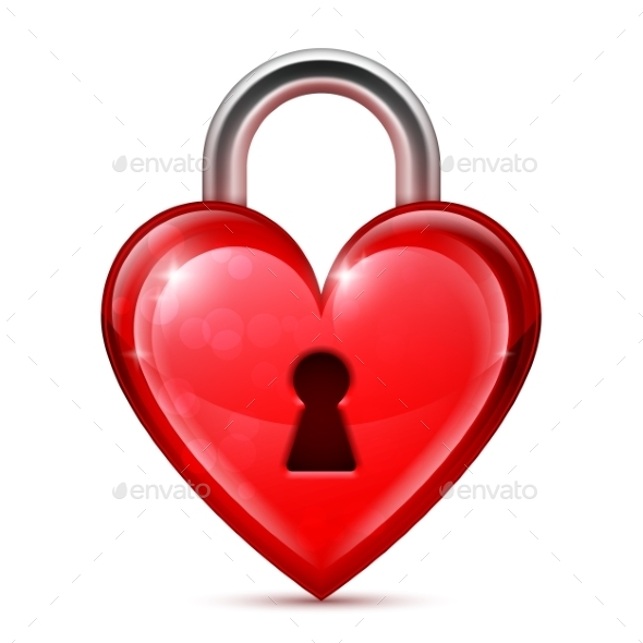 GraphicRiver Red Heart Lock 9817546