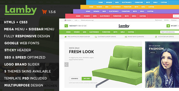 ThemeForest Lamby Responsive Multipurpose OpenCart Theme 9817548