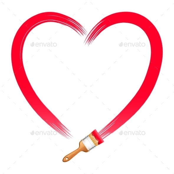 GraphicRiver Brush Drawing Red Heart 9817555