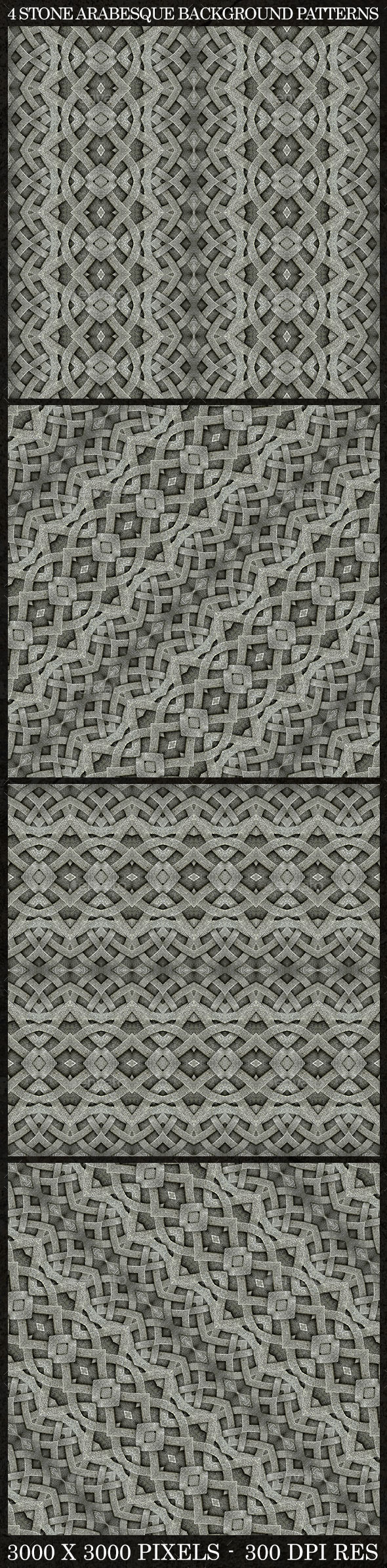 GraphicRiver 4 Stone Arabesque Patterns in Gray Tones 9817807