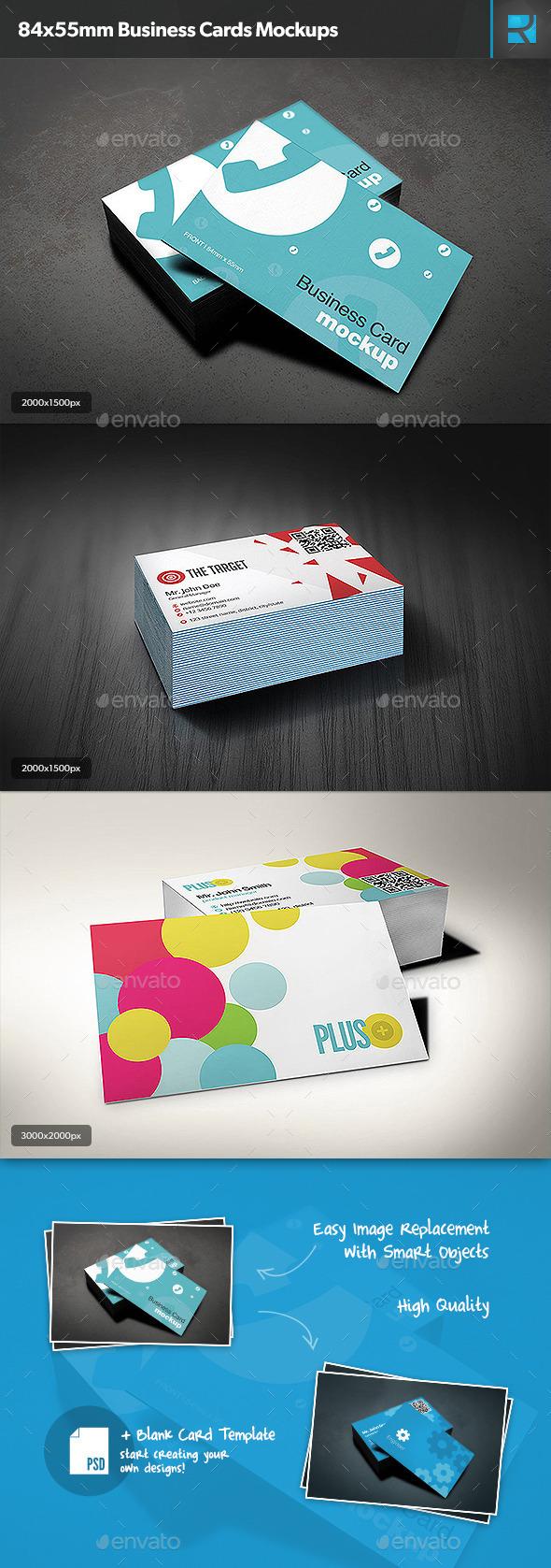 84x55mm Business Cards Mockups
