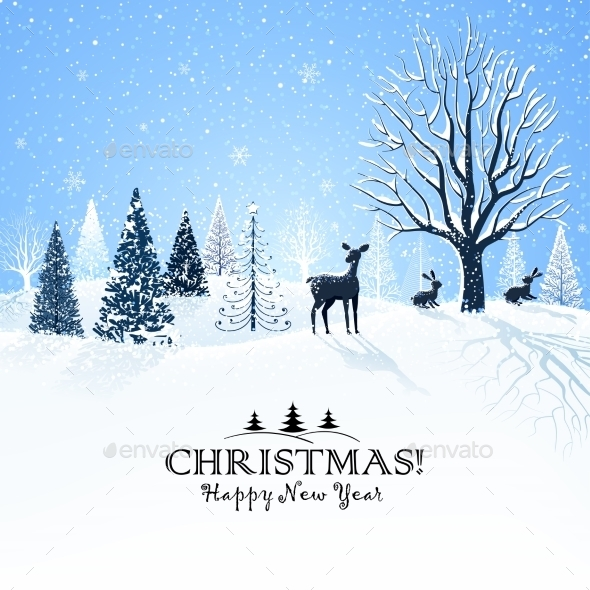 GraphicRiver Christmas Card with Reindeer 9818033