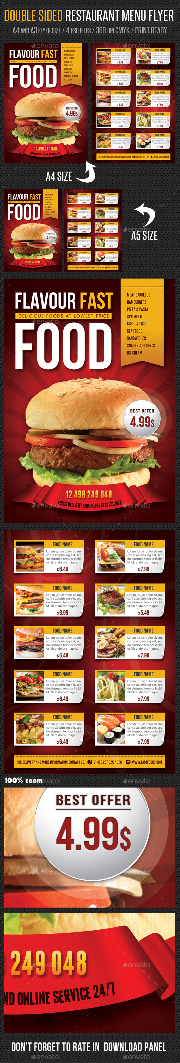 GraphicRiver Restaurant Menu Flyer 9779086