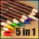 Wood Pencils Pack 5 in 1 - VideoHive Item for Sale