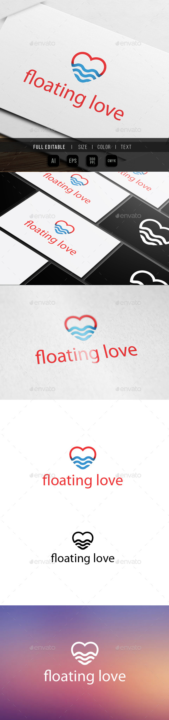 GraphicRiver Sea Love Logo 9818136