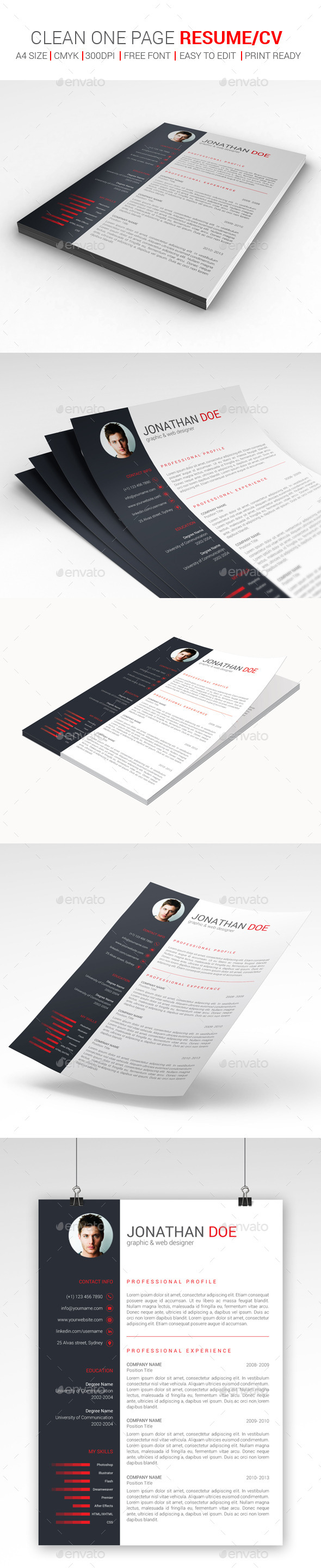 GraphicRiver Clean One Page Resume CV 9818702
