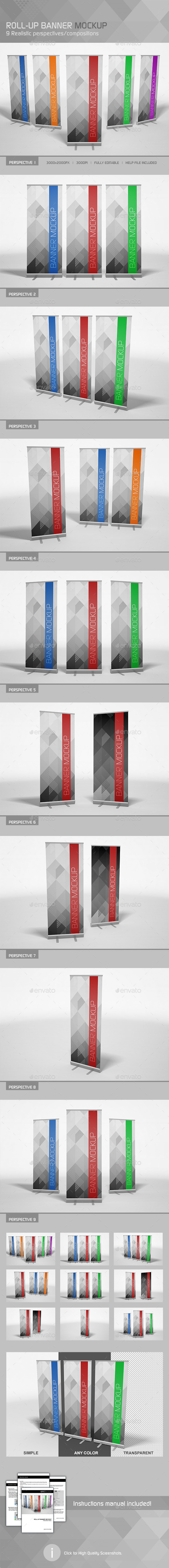 GraphicRiver Realistic Roll-up Banner Mockup 9818797