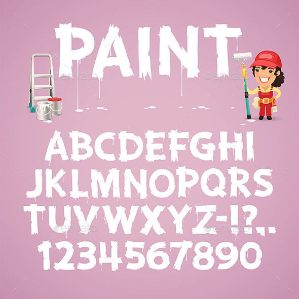 GraphicRiver Set of Letters and Numbers Painted on a Wall 9764193