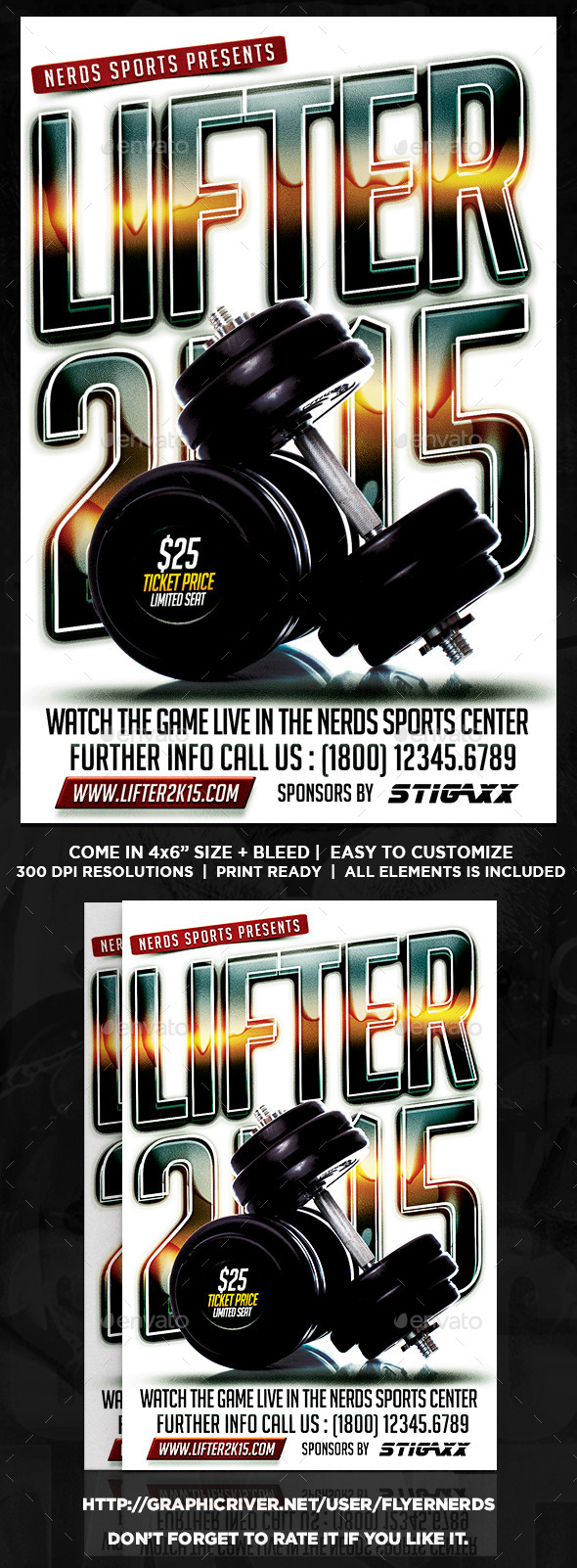 GraphicRiver Lifter 2K15 Championship Sports Flyer 9818892