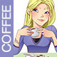 Girl Drinking a Coffee - GraphicRiver Item for Sale