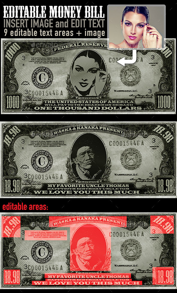 Editable Money Bill