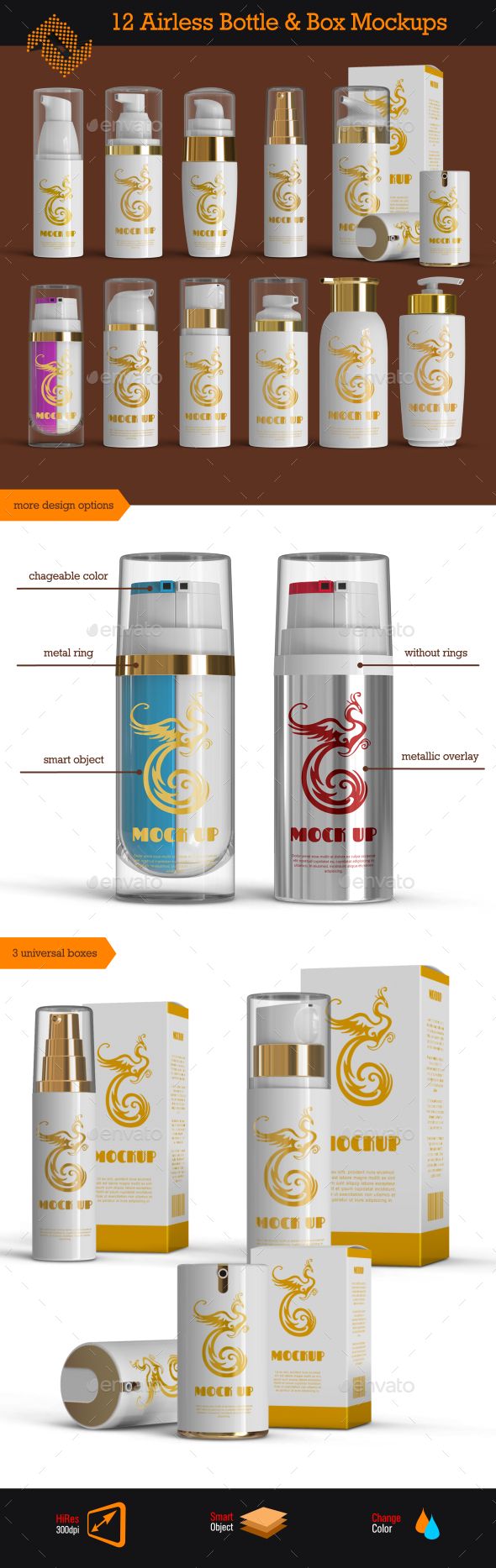 GraphicRiver 12 Airless Cosmetic Bottle & Box Mockups 9819433