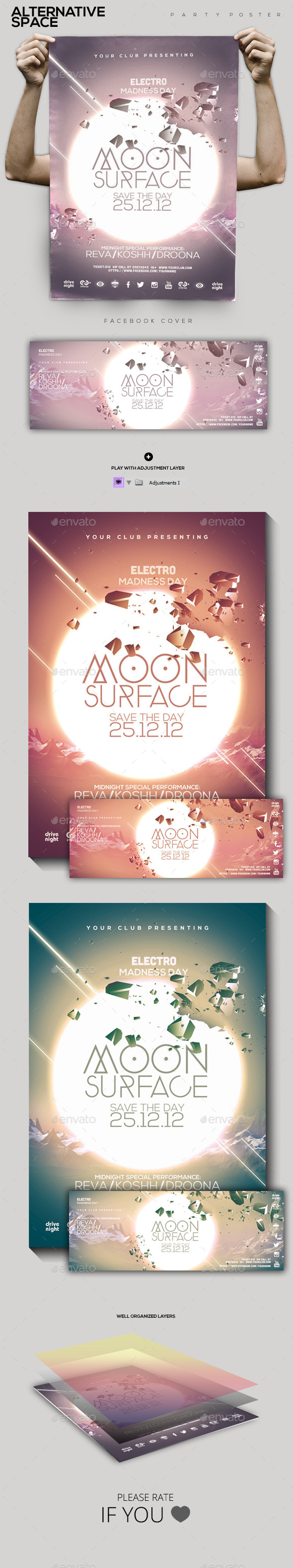 Moon Surface Party Flyer Poster