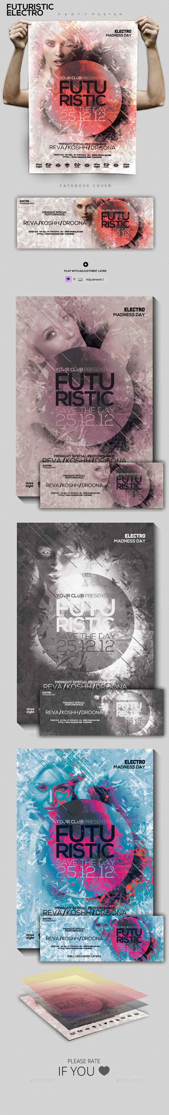 GraphicRiver Futuristic Electro Party Flyer Poster 9778120