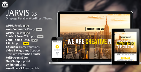 Jarvis - One page WordPress theme