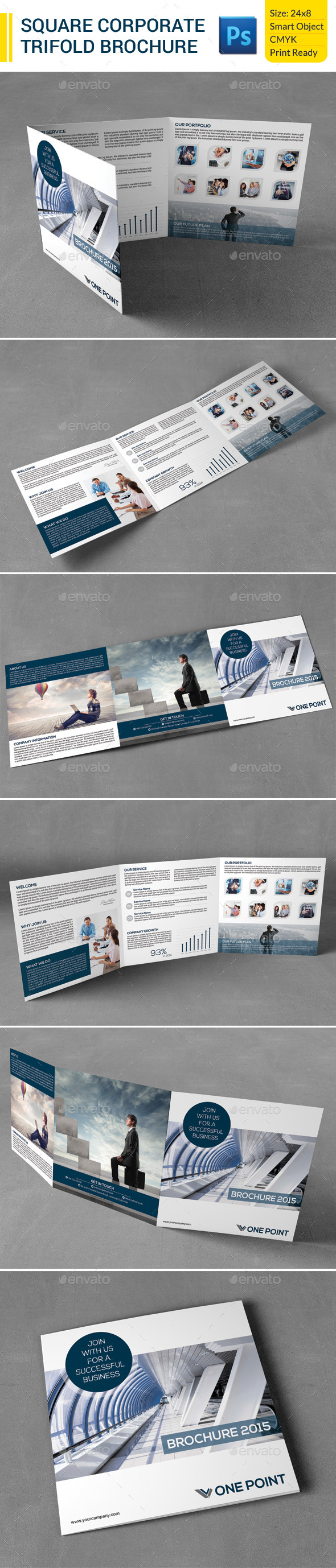 GraphicRiver Square Corporate Trifold Brochure 9819706