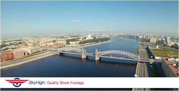 Saint Peterburg Bridge Aerial 2