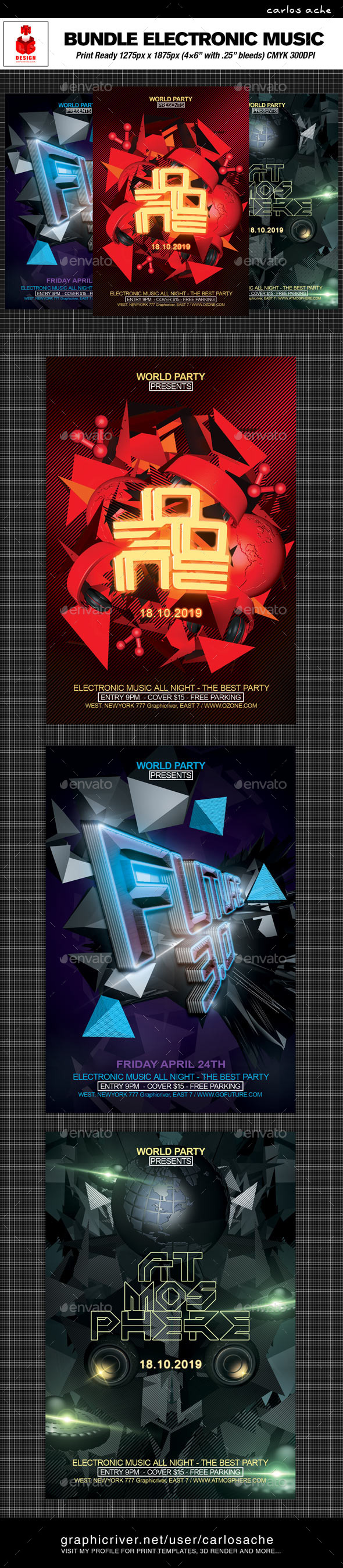 GraphicRiver Electronic Music Flyer Bundle 9754384