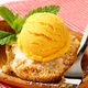 Almond cookie and scoop of ice cream served on olive wood bowl - PhotoDune Item for Sale