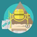 Flat illustration for construction site. Concrete mixer - PhotoDune Item for Sale