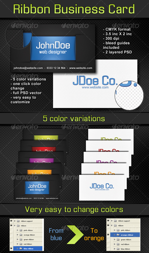 Ribbon Business Card 5 color variations