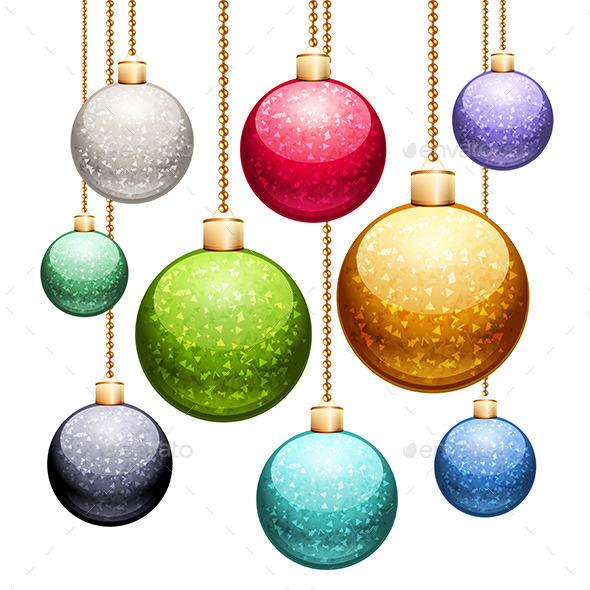GraphicRiver Set of Christmas Balls with Glitter 9783434