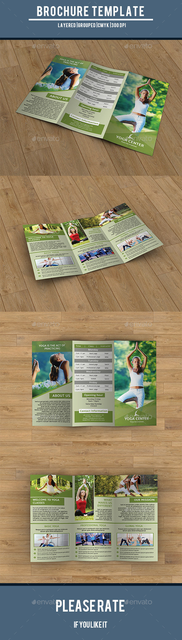GraphicRiver Trifold Brochure for Yoga Training Center-V203 9822727
